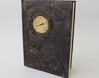 Exclusive steampunk notebook, steampunk journal, steampunk book, handcrafted gift for him and her, brutal journal, vegan notebook, steampunk