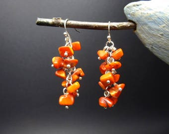 Coral beads cluster earrings