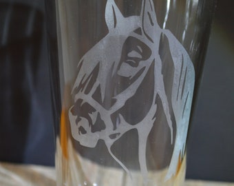 Homemade Hand Etched Tumbler: A detailed Horse A Must Have!!