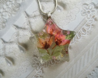 Ombre Pink Boronia, Pink  Alyssum, Queen Anne's Lace Pressed Flower Star Pendant-Spring Tulips-Symbolizes Admiration, Peace-Gifts Under 30