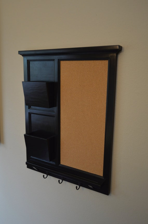 Cork board with Two Mail Organizer letter holder  Key / Coat / Hat rack - RusTic - Home Decor