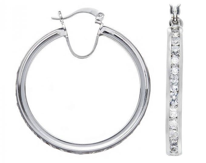 925 Sterling Silver Hoop Earrings Channel Set With Cubic Zirconia