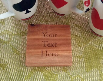 Wooden Personalized Coaster, Wood Drink Coasters, Wedding gift, Custom Coasters, Housewarming gift,