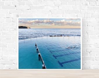 Large Beach Print, Beach poster, Bronte Rock pool, Sunset beach, Ocean Photography, Coastal wall art, Blue photo, Beach photography