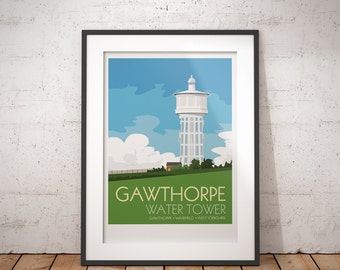 Gawthorpe Water Tower, Wakefield, West Yorkshire, England, UK - signed travel poster print