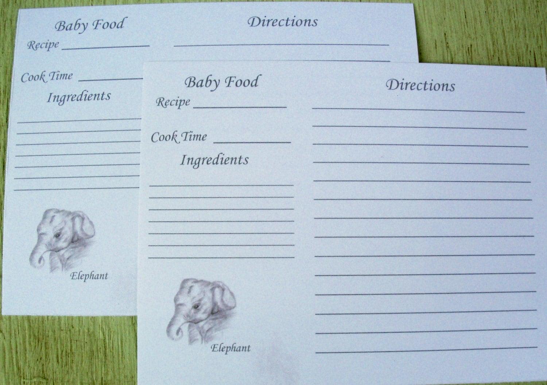 Recipe cards baking recipe card baby food recipe card elephant 699 forumfinder Choice Image