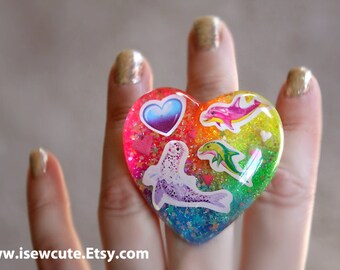 Gift for Her, One of a Kind Jewelry, Selkie Resin Ring, Chunky Resin Ring, Rainbow Glitter Heart, Ocean Friends Dolphins Sea Lion Ring