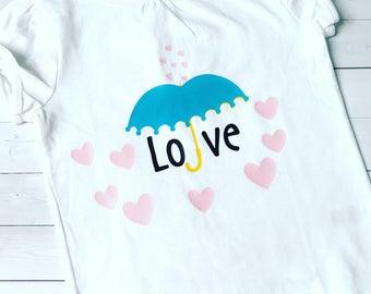 Raining Love Valentine Umbrella Toddler Tee
