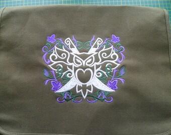 Owl Bag Owl Crest Bag Embroidered Owl Cotton Canvas Bag Embroidered Ivy Vine design Shoulder Bag Handbag Elven LOTR Elvish Glow in the dark