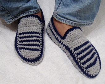 Crochet Knitted slippers for him,  yarn shoes, men slippers, cozy for winter, warm moccasins, men knits, Christmas slippers, knit slippers