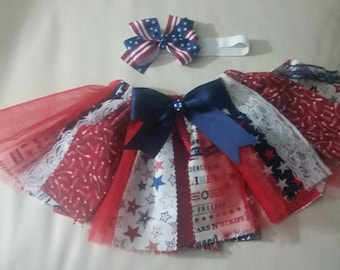 Patriotic Girl Rag Skirt, Fourth of July, Memorial Day, Independence Day, Military Homecoming, skirt and hairbow set sizes Newborn - 6X