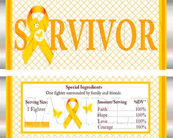Childhood Cancer Candy Wrappers 4, Faith, Courage, Love, Hope,Survivor, Awareness,DIY Printable, Digital Download, Hershey Candy Wrappers