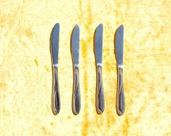 Vintage ROSTFREI INOX knives, Old INOX knives, Gilded blades, Set 4 vintage knife, Vintage gift Vintage kitchen decor