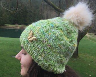 Spring Green Handspun Hat~ Butterfly  Brooch~ winter hat~ slouchy hat~ handmade knit