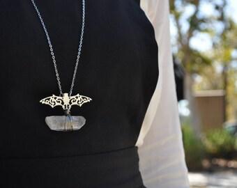 SALE Bat quartz necklace