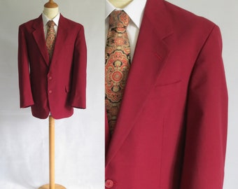 Sport rouge manteau veste blazer, Bordeaux, français vintage rétro, simple boutonnage, grand