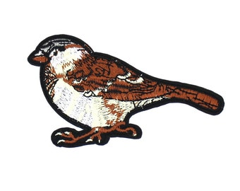 Sparrow Patch Sew On / Iron On DIY Patch Embroidered Applique 10.4x6cm - RP609