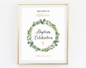 Baptism welcome sign, Baptism printable, Custom Baptism sign, Celebration sign, Personalized Baptism, Decoration Baby Baptism sign