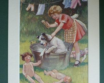 1920s Vintage Jack Russell Print - Children's Illustration - Vintage Print - Parson Russell - Terrier Dog Print - Matted Print - Bath Time