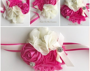 Hot Pink Corsages, Wrist Flower, Wrist Corsage, Wedding Corsage, pink ivory Corsage, Prom Corsage, Wedding Wrist Band, Wedding corsage,