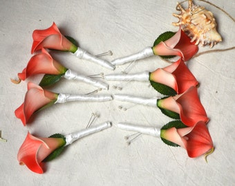 8 Boutonnieres Real Touch Coral Calla Lily Groomsmen Boutonnieres Real Touch Wedding Bouquets Choose Your Colors