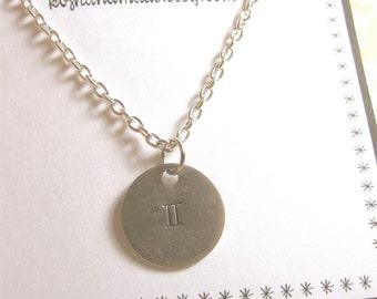 Gemini Necklace Zodiac Necklace Zodiac Jewelry Gemini Jewelry Handmade