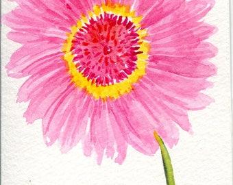 Gerbera Daisy Watercolors Painting Original, small Pink floral artwork. 4 x 6 original flower watercolor painting of pink Gerber daisies