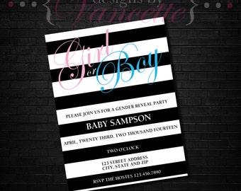 Black Stripe Gender Reveal Invite, Striped Gender Reveal Invite, Gender Reveal Invitation, Black and White Invite, Gender Reveal Invite