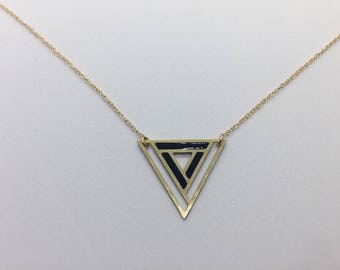 Geometric Laser Cut Triangle Necklace Black and Gold Delicate Minimal Jewelry