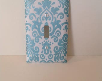 Aqua Damask Fabric Covered Light Switch Cover Plate  (other sizes and styles available)