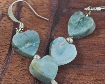 heart earrings  turquoise cream jade hearts--  dangle OOAK jewelry sterling findings love romance valentines