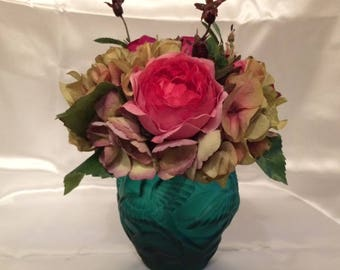 Silk Roses and Hydranges Arrangement, Silk Mixed Floral Arrangement, Silk Flower Arrangement, Faux Flower Arrangement, Faux Flower Bouquet