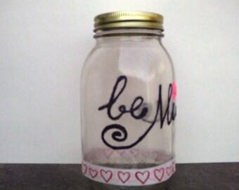 Be mine candy jar, Candy jar, Valentine's day gift, Valentine's day jar, Home decor, Mason jar