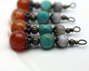 Orange Agate and Turquoise Vintage Style Bead Dangles, Charm, Drop Set, Earring Dangle, Jewelry Making, Pendant