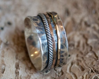 Sterling silver band, Hammered band, stacking band, silver gold band, spinners ring, wedding band, two tones ring- Glory of love R2099