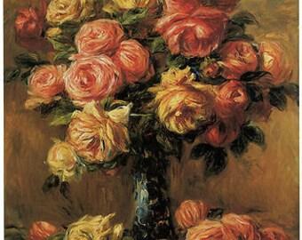 Renoir - Les Roses dans un Vase Art Canvas/Poster Print A3/A2/A1