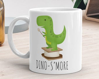 Funny Mug 11oz or 15oz - Dino-S'more - Coffee Cup Campins Baby Dinosaur S'more Lover Campfire Marshmallows Cute Dino Puns Dinosaurs Food Pun
