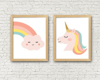 Unicorn art print unicorn rainbow set of 2 digital art prints girls room decor girls nursery art prints set of 2 instant download 8x10
