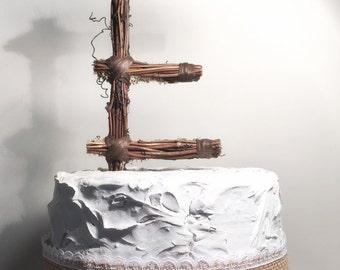 Letter E Twig Topper, E Standard Grapevine Topper, Rustic Standard Cake Topper, Rustic Wedding Cake Topper, Natural, Handmade Cake Top