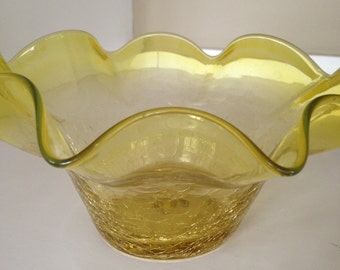 Ruffled vintage yellow crackle glass vase