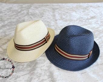 Kids Fedora - Blue Boys Fedora - Ivory Boys Hat - Beach Hat - Boys Straw Hat - Child Fedora - Ring Bearer Fedora - Boys Cap - Summer Hat