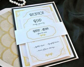 Great Gatsby Art Deco blush wedding Invitation Sample