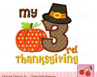 "My 3rd Thanksgiving, Pilgrim hat Number 3 Machine Embroidery Applique Design - 4x4 5x5 6x6"""