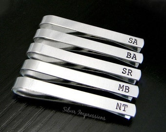 Wedding Tie Clip Set /  Personalized Tie Bar / Gift for Him / Groom gift / Dad Gift