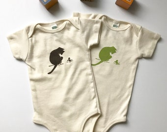 Ships free in US! Curious Cat and Mouse Print Organic Cotton Short Sleeve One Piece-Hand printed bodysuit-Organic cotton-Future Cat Lover