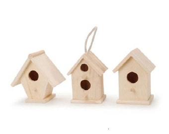 Lot Set of 3 wood birdhouses DIY unfinished Crafts ready to paint, stain finish