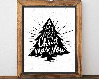 Calligraphy Christmas Tree - Christmas Print, Christmas Art, Christmas Decor, Holiday Print, Holiday Art, Holiday Decor, Black and White