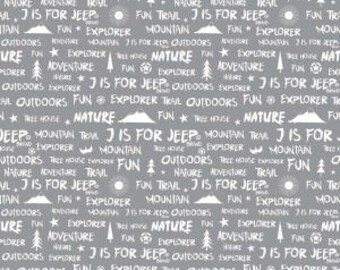 J is For Jeep Brand Words on Gray from Riley Blake Design's J is For Jeep Collection