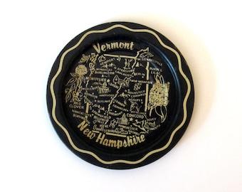 Jahrgang Vermont Newhampshire Spitze Tablett - Aschenbecher - Sammler Barzubehör - Reise Souvenir - Souvenir - New England - schwarz und weiß