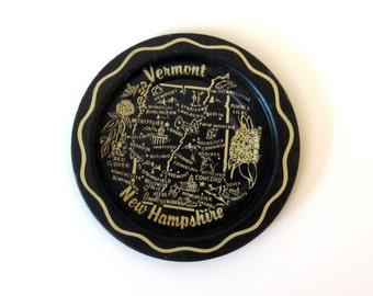 Vintage Vermont New Hampshire Tip Tray - Vintage Ashtray - collectible barware - trip souvenir - souvenier - New England - black and white